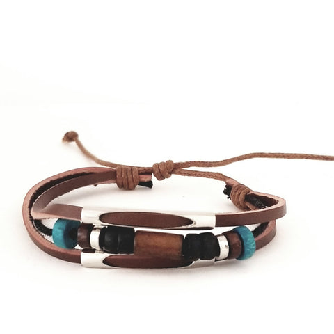 Brown/Turq Beads Multi-Strands Bracelet