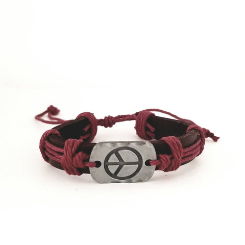 Peace Leather Bracelet - Red