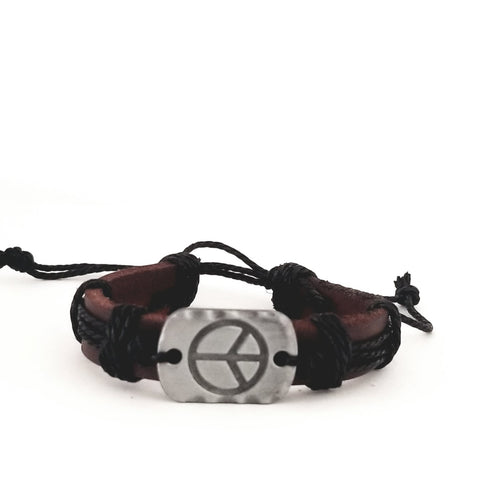 Peace Brown Leather Bracelet