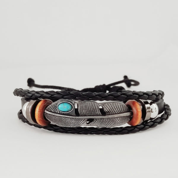 Turq Feather Bracelet Set