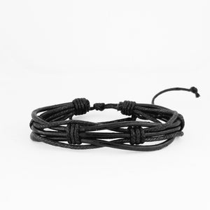 Black Weave Leather Bracelet