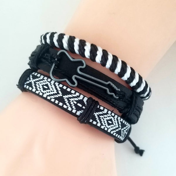 Black & White Guitar Bracelet Set