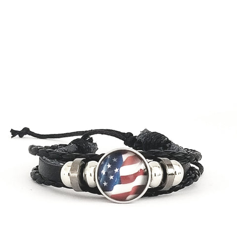 American Flag Leather Bracelet