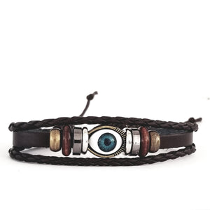 Evil Eye Leather Bracelet