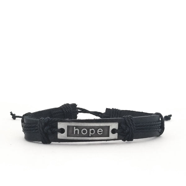 Hope Leather Bracelet - Black