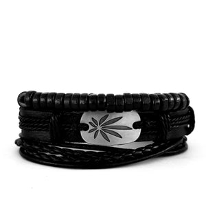 Marley Leaf Bracelet Set - Black