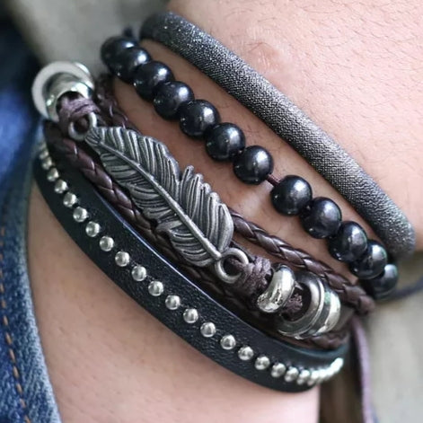 Cypress Feather Bracelet Set