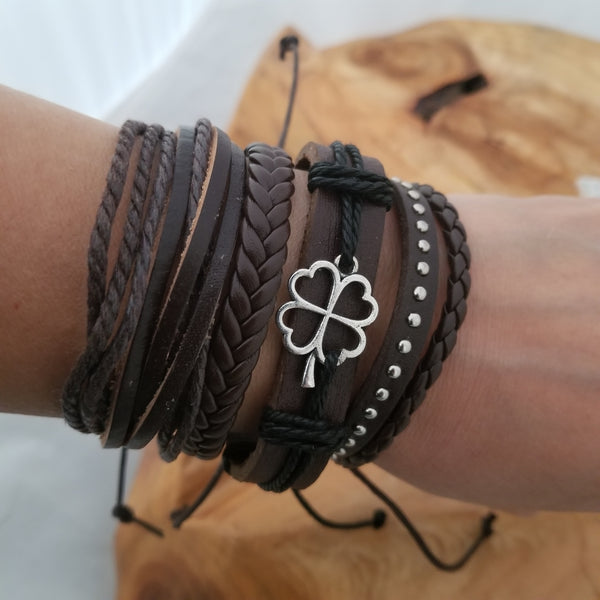 Lucky Clover Bracelet Set - Brown