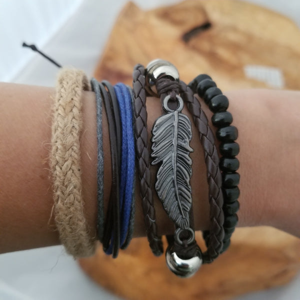 Phoenix Feather Bracelet Set