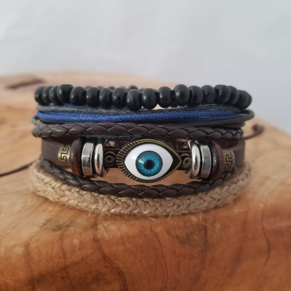 Evil Eye Multilayer Leather Bracelet Set