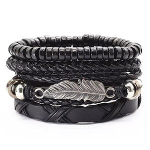 Black Feather Bracelet Set