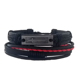 Cross Leather Bracelet Set - Silverado Outpost