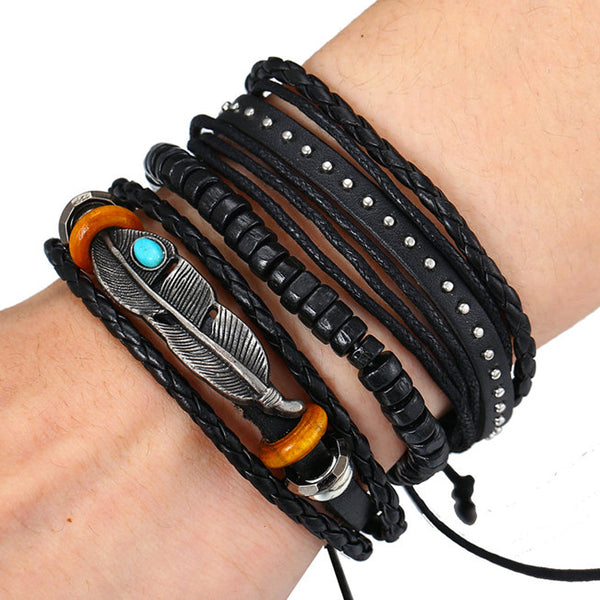 Tribal Multilayer Feather Bracelet Set - Silverado Outpost