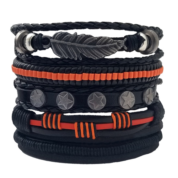 Feather Multilayer Leather Bracelet Set - Silverado Outpost