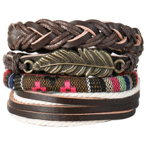 Questa Multilayer Feather Bracelet Set - Silverado Outpost