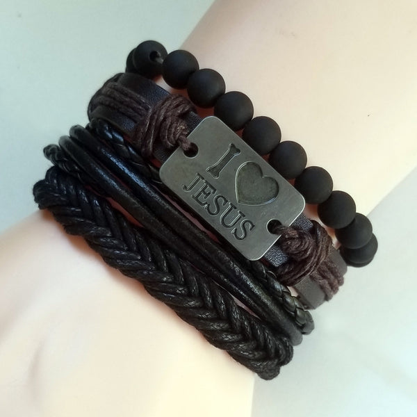I Love Jesus Leather Bracelet Set - Silverado Outpost
