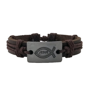 Jesus Leather Bracelet - Silverado Outpost
