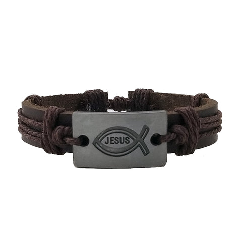 Jesus leather bracelet from Silverado Outpost