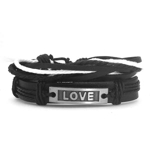 Black & White Love Leather Bracelet - Silverado Outpost