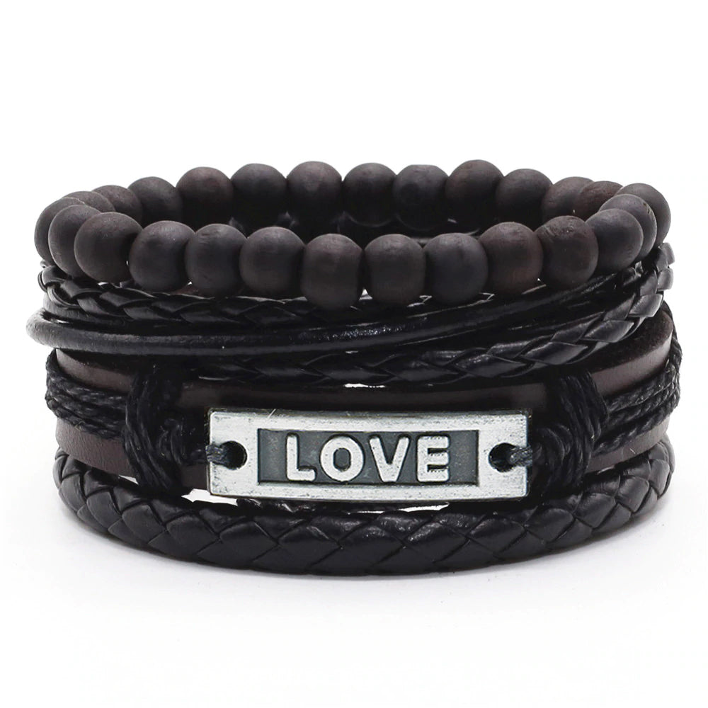 Black Love Leather Bracelet - Silverado Outpost