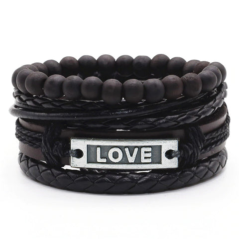 Black Love Leather Bracelet