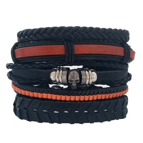 Orange Skull Multilayer Bracelet Set - Silverado Outpost