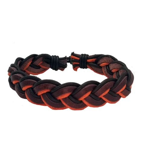 Orange and Brown Leather Bracelet