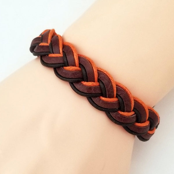 Orange and Brown Leather Bracelet - Silverado Outpost