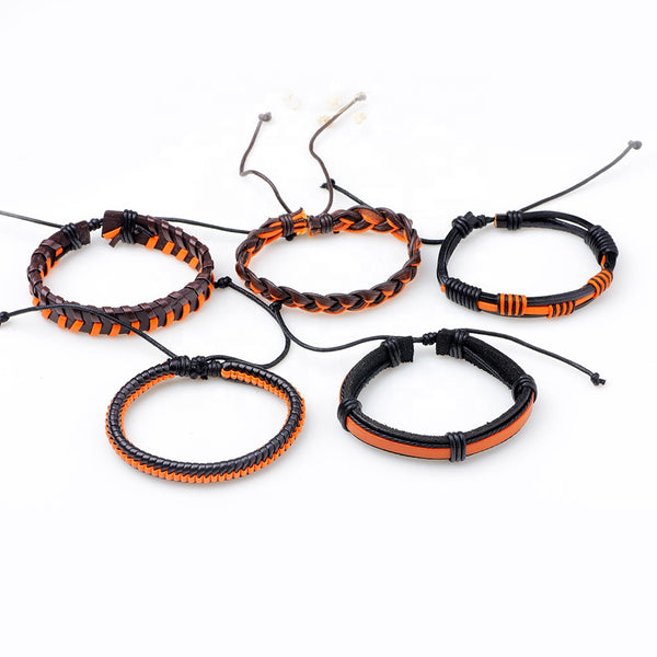 Orange Leather Bracelet Set - Silverado Outpost