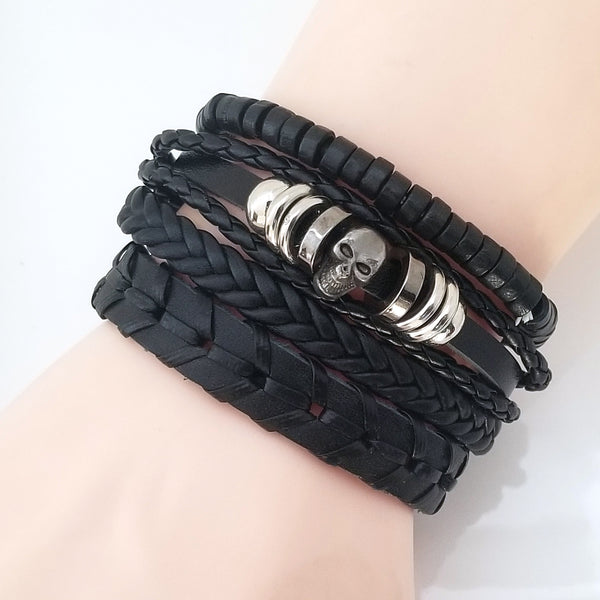Simple Skull Multilayer Bracelet Set
