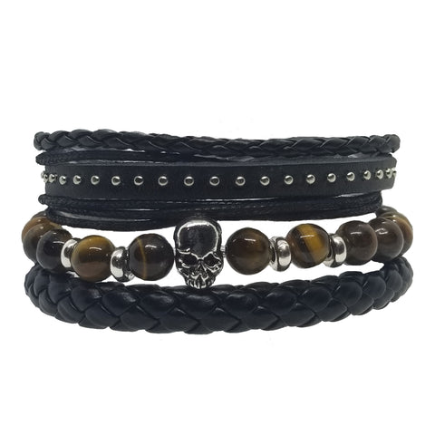Skull Beads Leather Bracelet Set - Marble - Silverado Outpost