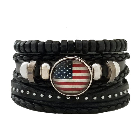 USA Leather Bracelet Set - Silverado Outpost