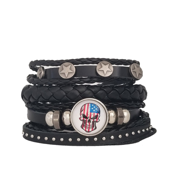USA Skull Multilayer Bracelet Set