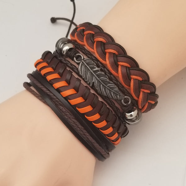 Autumn Orange Feather Bracelet Set - Silverado Outpost