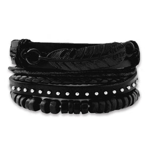 Classic Black Feather Bracelet Set - Silverado Outpost