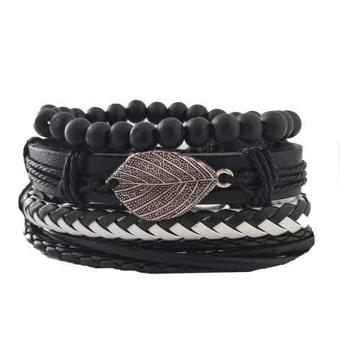 Black Leaf Leather Bracelet Set - Silverado Outpost