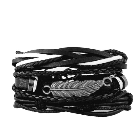 Feather Black & White Bracelet Set