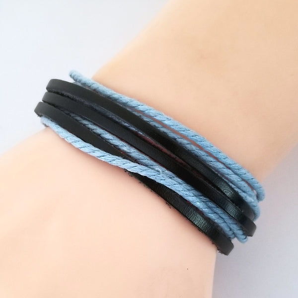 Blue & Black Multi-Strand Bracelet
