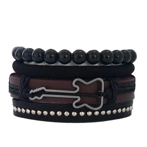Multilayer Brown/Black Guitar Bracelet Set