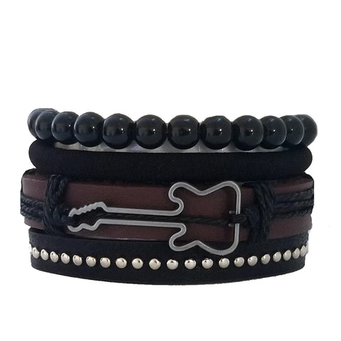 Multilayer Brown/Black Guitar Bracelet Set - Silverado Outpost