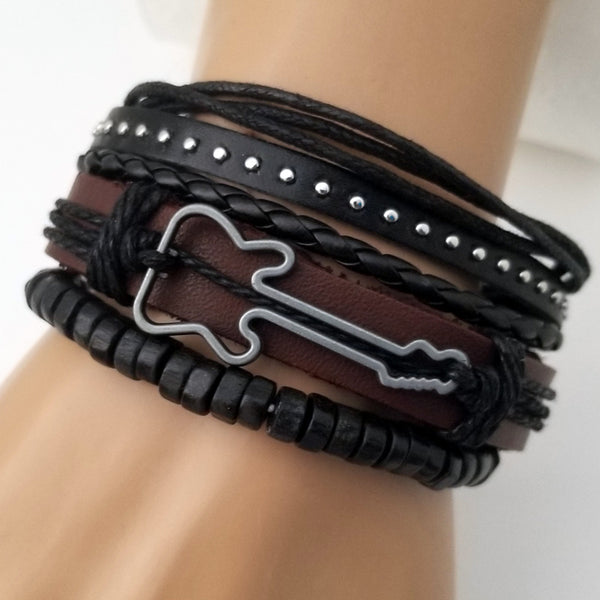 Brown Guitar Multilayer Leather Bracelet Set - Silverado Outpost