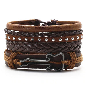Guitar Multilayer Leather Bracelet Set - Silverado Outpost