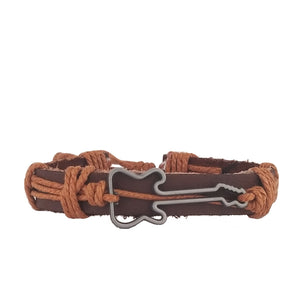 Guitar Leather Bracelet - Brown