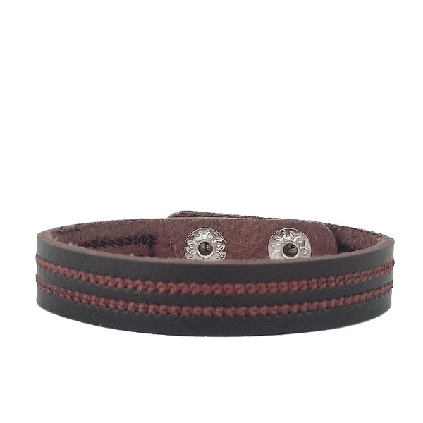 Peace Leather Bracelet Set - Brown