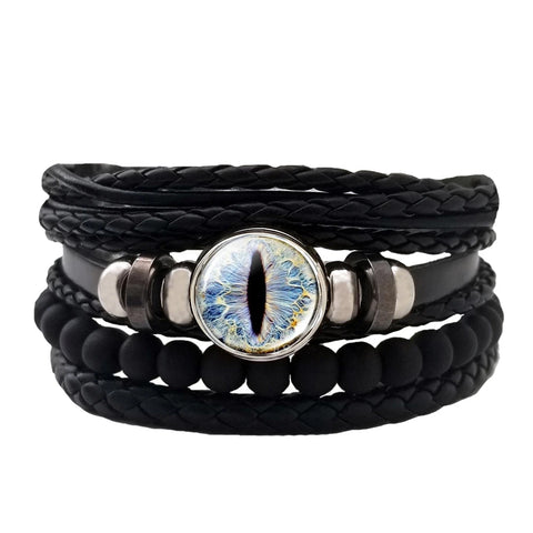 Dragon Eye Leather Bracelet Set - Blue