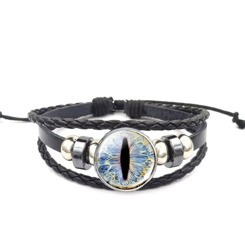 Dragon Eye Leather Bracelet - Blue