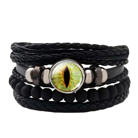 Dragon Eye Leather Bracelet Set - Green