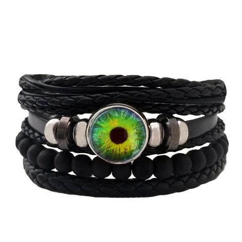 Dragon Eye Leather Bracelet Set - Green Round