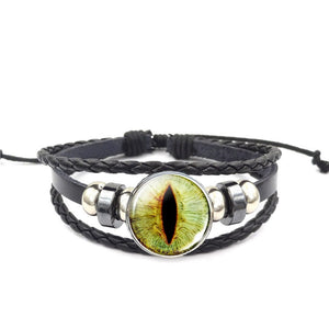 Dragon Eye Leather Bracelet - Green