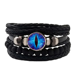 Dragon Eye Leather Bracelet Set - Neon Blue